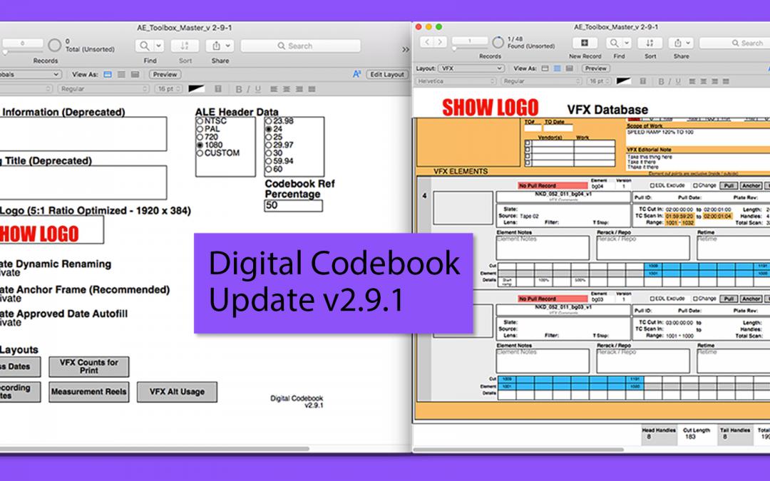 Assistant Editor Digital Codebook Update v2.9.1